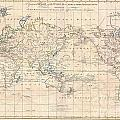 1799 Cruttwell Map Of The World On Mercators Projection by Paul Fearn