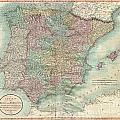 1801 Cary Map Of Spain And Portugal by Paul Fearn