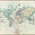1801 Cary Map Of The World On Mercator Projection by Paul Fearn