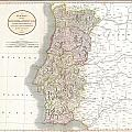 1811 Cary Map Of The Kingdom Of Portugal by Paul Fearn