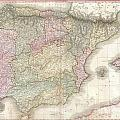 1818 Pinkerton Map Of Spain And Portugal by Paul Fearn