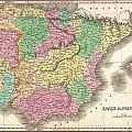 1827 Finely Map Of Spain And Portugal by Paul Fearn