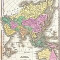 1827 Finley Map Of Asia And Australia by Paul Fearn