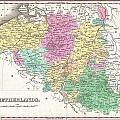 1827 Finley Map Of Belgium And Luxembourg by Paul Fearn