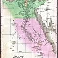 1827 Finley Map Of Egypt by Paul Fearn