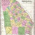 1827 Finley Map Of Georgia by Paul Fearn