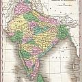 1827 Finley Map Of India  by Paul Fearn