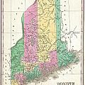 1827 Finley Map Of Maine by Paul Fearn