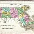 1827 Finley Map Of Massachusetts by Paul Fearn