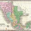 1827 Finley Map Of Mexico Upper California And Texas by Paul Fearn