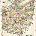 1827 Finley Map Of Ohio by Paul Fearn