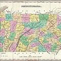 1827 Finley Map Of Pennsylvania by Paul Fearn