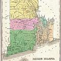 1827 Finley Map Of Rhode Island by Paul Fearn