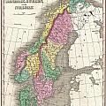 1827 Finley Map Of Scandinavia Norway Sweden Denmark by Paul Fearn