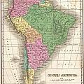 1827 Finley Map Of South America by Paul Fearn