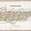 1827 Finley Map Of Tennessee by Paul Fearn