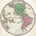 1827 Finley Map Of The Western Hemisphere by Paul Fearn