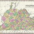 1827 Finley Map Of Virginia by Paul Fearn