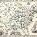 1851 Tallis And Rapkin Map Of The United States by Paul Fearn