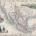 1851 Tallis Map Of Mexico Texas And California  by Paul Fearn