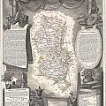 1852 Levasseur Map Of The Department Du Rhone France  Beaujolais Wine Region by Paul Fearn