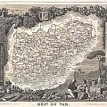1852 Levasseur Map Of The Department Du Var France  French Riviera by Paul Fearn