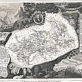 1852 Levasseur Map Of The Department Hautes Alpes France  by Paul Fearn