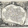 1852 Levasseur Map Of The Department L Allier France  Saint Pourcain Wine Region by Paul Fearn