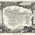 1852 Levasseur Map Of The Department L Aude France by Paul Fearn