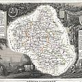 1852 Levasseur Map Of The Department L Aveyron France Roquefort Cheese Region by Paul Fearn