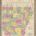 1853 Mitchell Map Of Arkansas by Paul Fearn