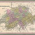 1853 Mitchell Map Of Switzerland  by Paul Fearn