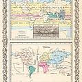 1855 Antique World Maps Illustrating Principal Features Of Meteorology Rain And Principal Plants by Karon Melillo DeVega