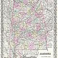 1855 Colton Map Of Alabama by Paul Fearn