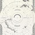 1855 Colton Map Of Antarctica The South Pole Or The Southern Polar Regions by Paul Fearn