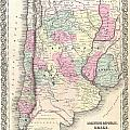 1855 Colton Map Of Argentina Chile Paraguay And Uruguay by Paul Fearn