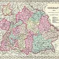1855 Colton Map Of Bavaria Wurtemberg And Baden Germany by Paul Fearn