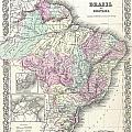 1855 Colton Map Of Brazil And Guyana by Paul Fearn