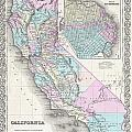 1855 Colton Map Of California And San Francisco by Paul Fearn