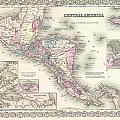 1855 Colton Map Of Central America And Jamaica by Paul Fearn