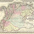 1855 Colton Map Of Columbia Venezuela And Ecuador by Paul Fearn