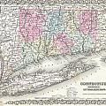 1855 Colton Map Of Connecticut And Long Island by Paul Fearn