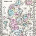 1855 Colton Map Of Denmark by Paul Fearn