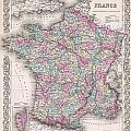 1855 Colton Map Of France by Paul Fearn