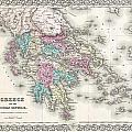 1855 Colton Map Of Greece  by Paul Fearn