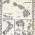 1855 Colton Map Of Hawaii And New Zealand by Paul Fearn
