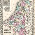 1855 Colton Map Of Holland And Belgium by Paul Fearn