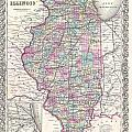 1855 Colton Map Of Illinois by Paul Fearn