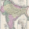 1855 Colton Map Of India Or Hindostan by Paul Fearn