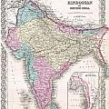 1855 Colton Map Of India by Paul Fearn